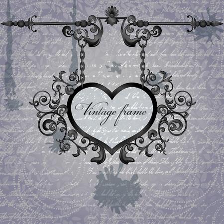 letrero: Vector retro de fondo con el corazón letrero forjado