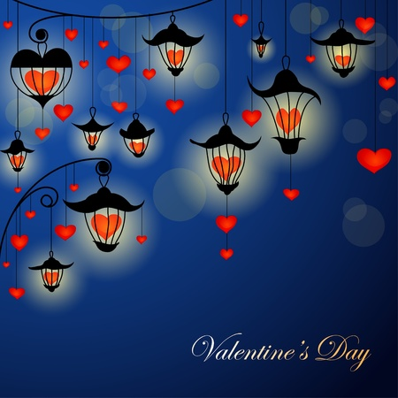 multicolor lantern: Romantic Valentine card with lanterns and hearts