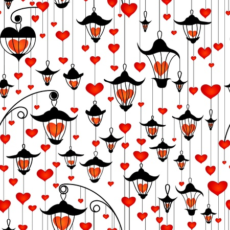 colorful lantern: Seamless wallpaper with lanterns and heart for Valentines day Illustration