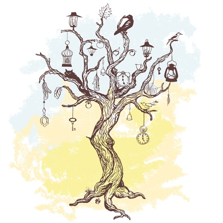 Grungy background with handwritten magic tree Vector