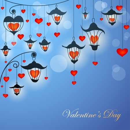 lamp posts: Romantic Valentine card with lanterns and hearts in twilight Illustration