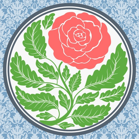 Vintage rose in round frame Vector