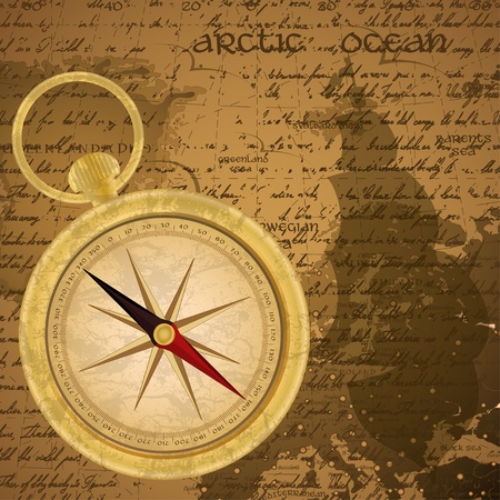 Antique sailor background with old grungy map and golden compass Vector