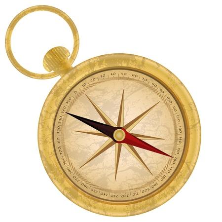 Golden compass icon Vector