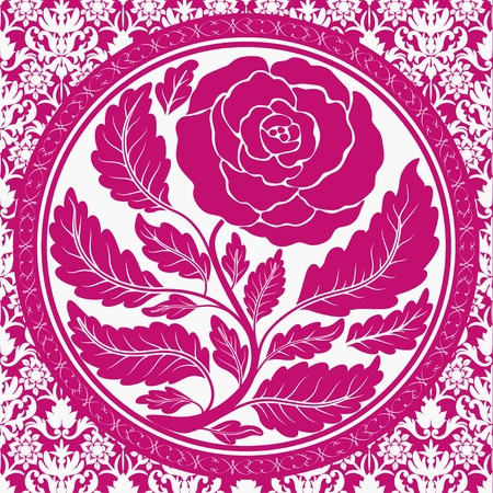 Pink vintage rose in round frame Stock Vector - 11929037