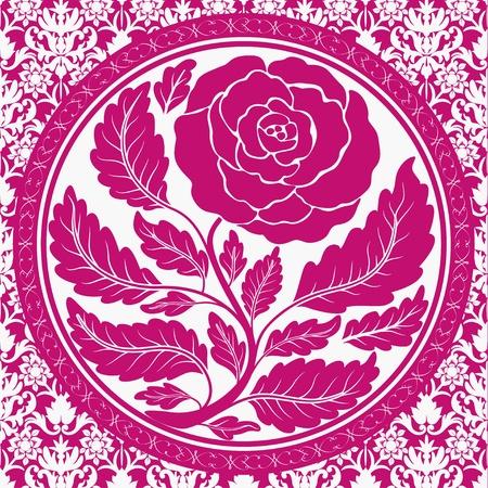 Pink vintage rose in round frame Vector
