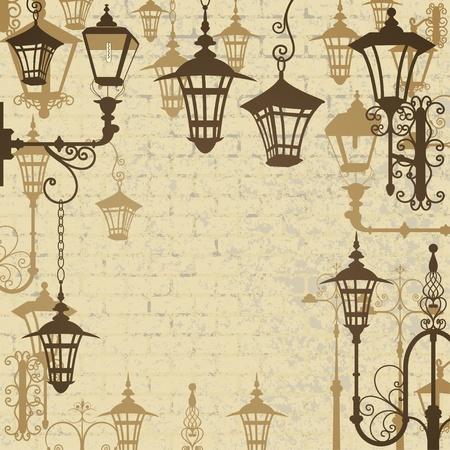lampposts: La ciudad antigua de fondo con faroles forjados Vectores