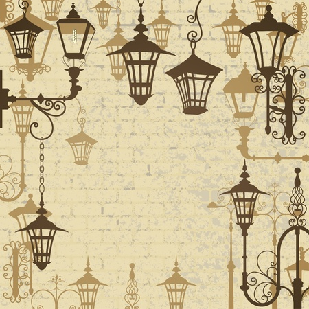 lampposts: Old town background with wrought lanterns