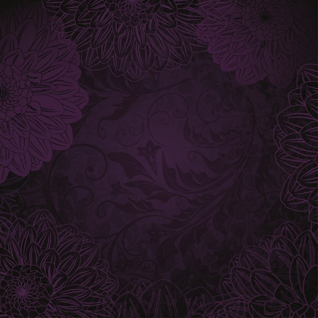 antique purple floral background Stock Vector - 11950926