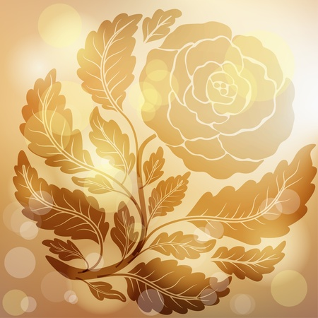 Retro golden rose Vector