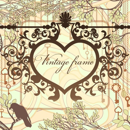 antique keys: Vintage background with wrought heart frame and antique keys