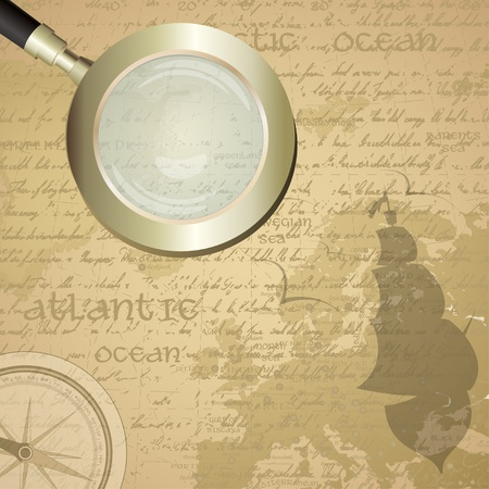 Antique sailor background with old grungy map and magnifying glass Vector