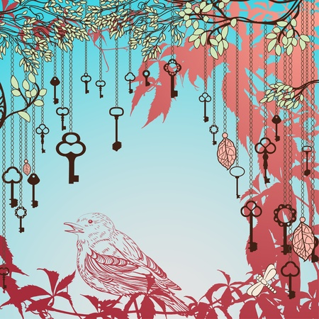 Vintage card with sparrow and keys Vector