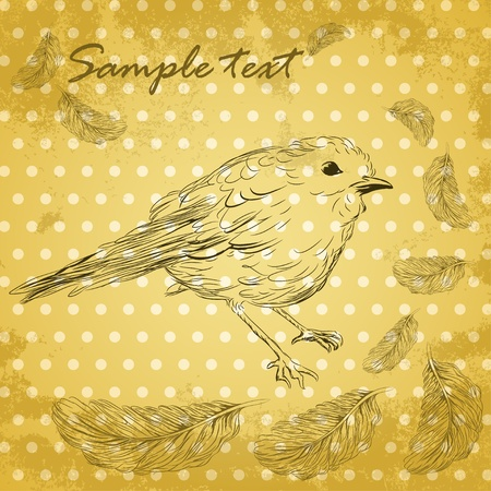 Sketch of little bird and feathers on vintage grungy paper Vector