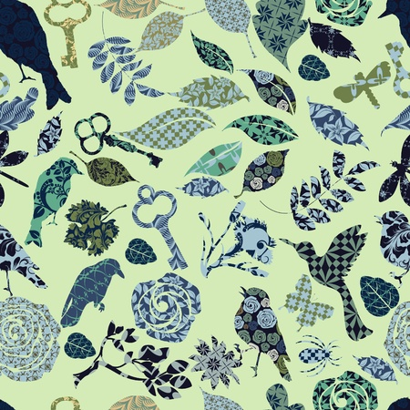 Seamless texture of patch silhouettes Vector