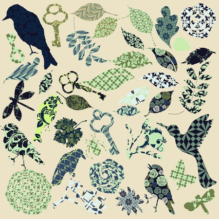 birds silhouette: Set of vector patch silhouettes Illustration