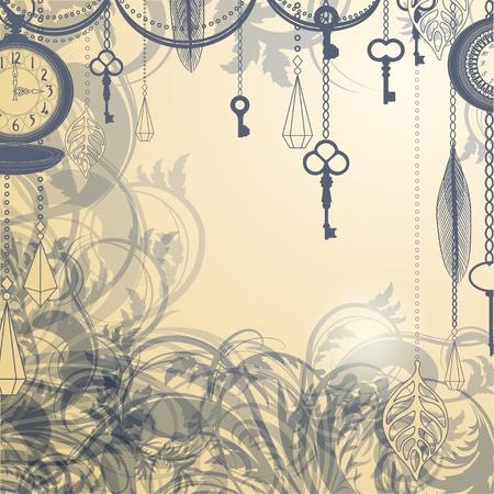 garden key: Vintage background with antique clocks and keys