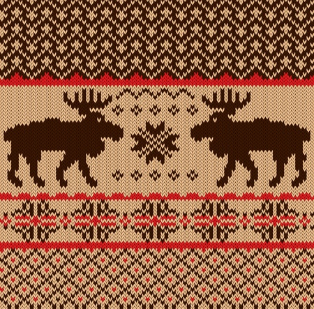 red  plaid: Knitted swatch with deers and snowflakes pattern