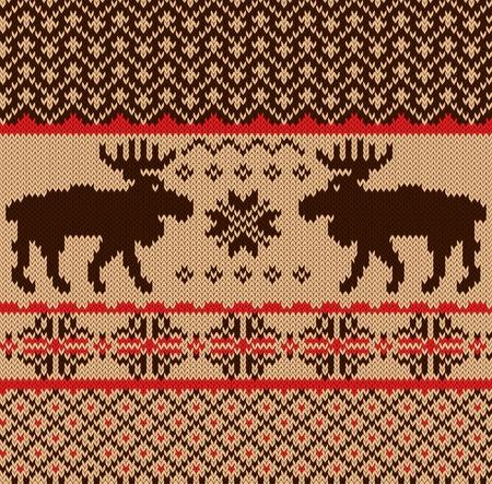 textura lana: Muestra de tejido con ciervos y los copos de nieve patr�n Vectores