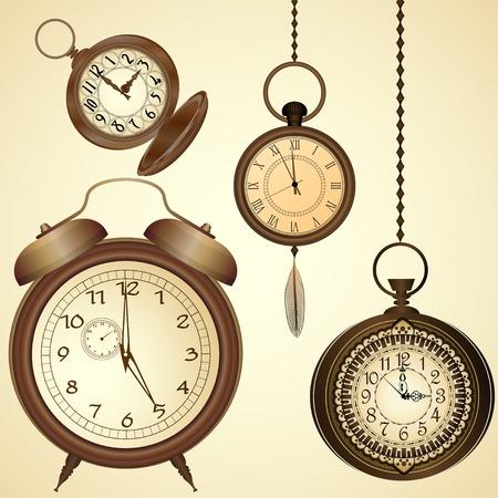 Set van ouderwetse horloges Vector Illustratie