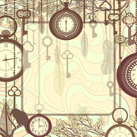 Vintage background with tree branches and antique clocks and keys Vector