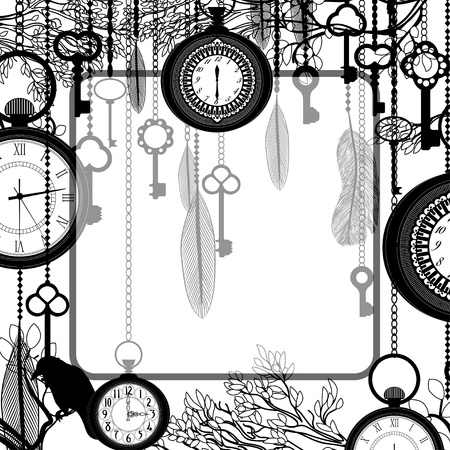 key chain: Black and white background with tree branches and antique clocks and keys