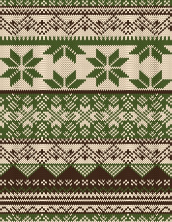 Knitted country background with snowflakes Vector