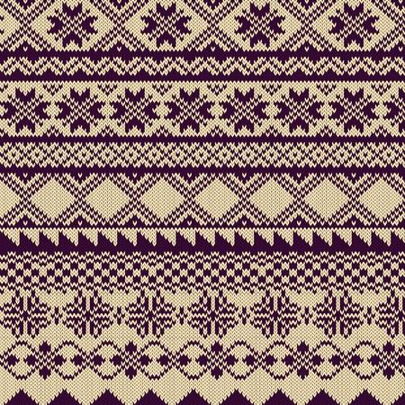 knitted background: De punto de fondo con el patr�n en la Feria del estilo de la Isla Vectores