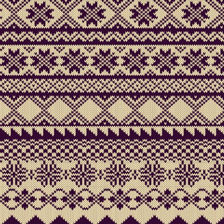 Knitted background with pattern in Fair Isle style Illustration