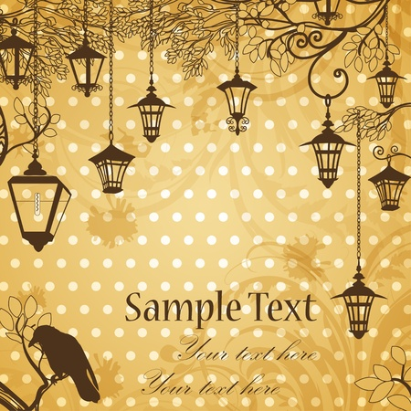 Vintage background with tree branches and retro street lamps Vector
