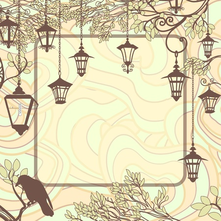 paper lantern: Vintage background with tree branches and retro street lamps