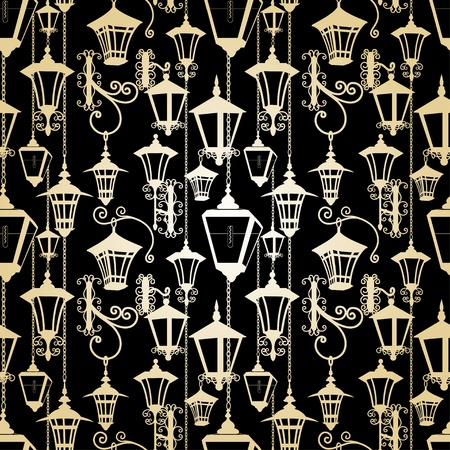 lampposts: Seamless lantern pattern