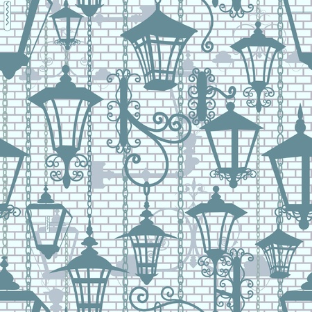 Old town seamless texture with wrought lanterns Vector