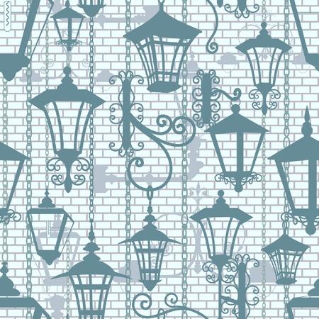 lampposts: Textura de la ciudad vieja sin fisuras con faroles forjados
