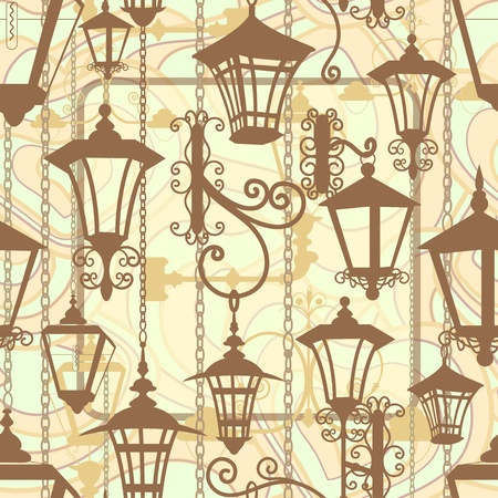 Oude stad naadloze textuur met smeedijzeren lantaarns Vector Illustratie