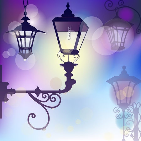 lamp post: Vector morning background with wrought lanterns with raindrops and flare lights