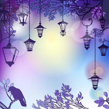 luz de luna: Mañana fondo con ramas de árboles y lámparas retro calle