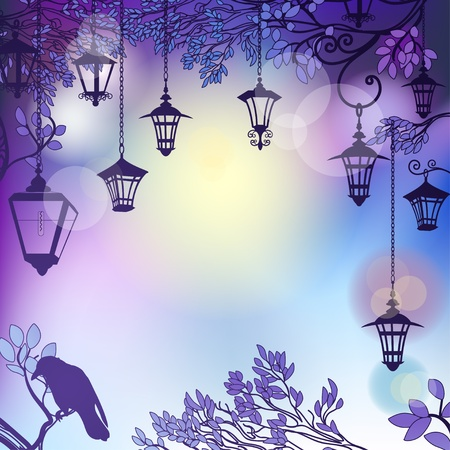 Morning background with tree branches and retro street lamps Vector