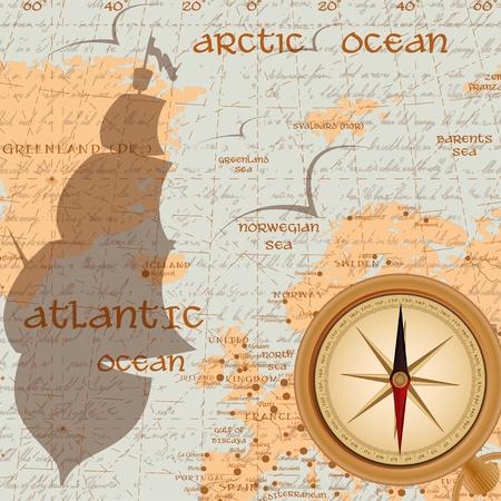 parchment texture: Vintage travel background with antique compass Illustration