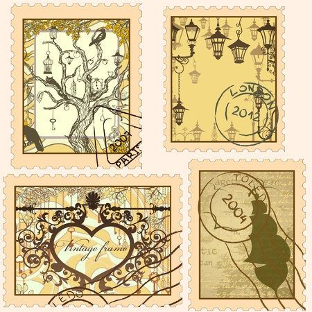the etiquette: Set of vintage stamps