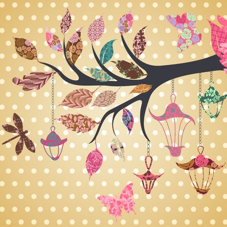sky lantern: Scrap-booking background of tree branch with leaves and bird of patches