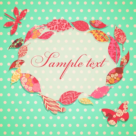 scrap booking: Vintage background with frame of patch leaves