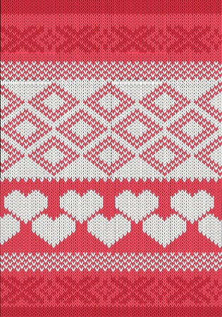 slavic: Knitted yarn swatch with hearts