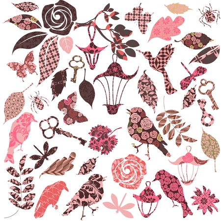 Set of vector patch silhouettes for scrap booking Stock Vector - 12031337