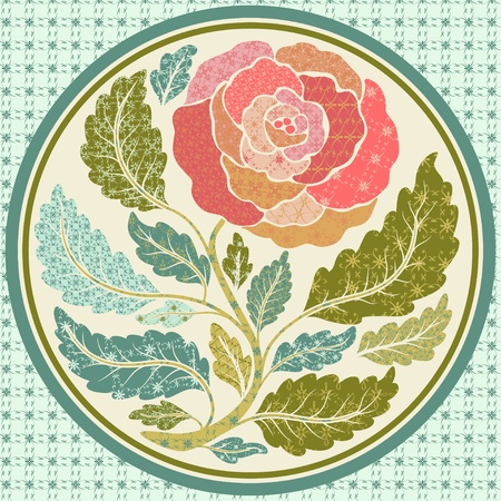 Patch application of a rose in round frame Vector