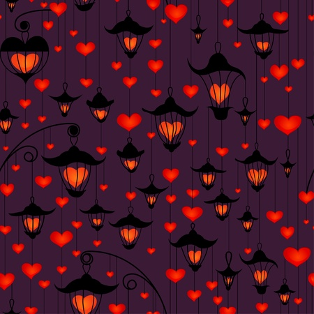 small lamp: Seamless wallpaper with lanterns and heart for Valentines day Illustration
