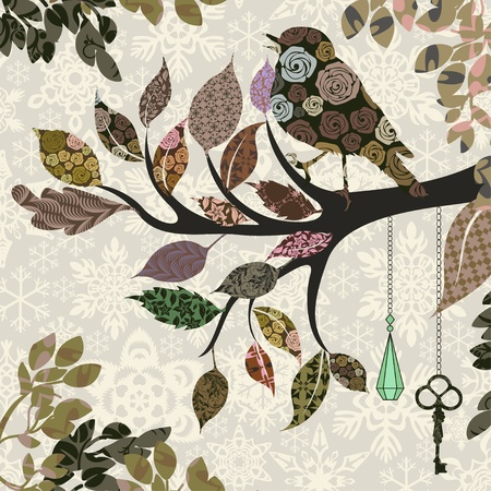 vintage wallpaper: Retro background of tree branch with leaves and bird of patches