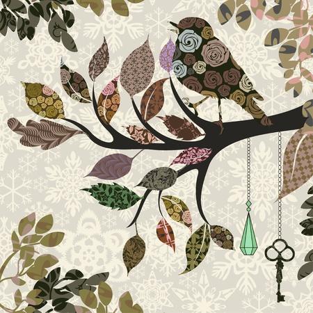 Retro tle gałęzi drzewa z liści i ptaków z łatami
