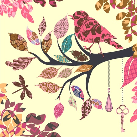 scrap paper: Retro background of tree branch with leaves and bird of patches