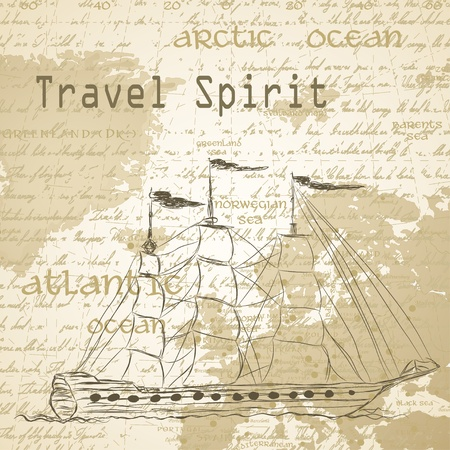 script: Travel background with vintage map and handwritten ship ship